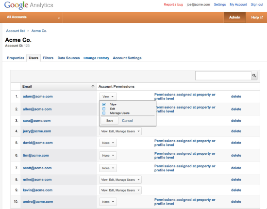новый user management в Google Analytics